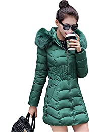MISSMAO Donna Giacca Trapuntato Cappotti Inverno Spessore Caldo Cappotto  Slim Fit con cappucciato di Pelliccia Ecologica 0c21a0af8518