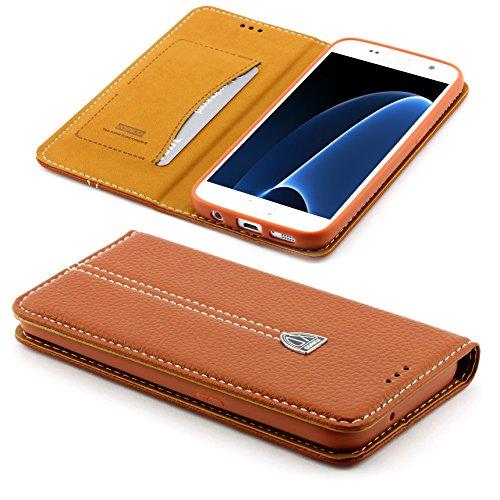 Preisvergleich Produktbild [S7 EDGE] Handy Schutz Tasche Noble Series Cover für Samsung Galaxy [S7 EDGE] edle Book Style Hülle mit Aufstellfunktion und Kartenfach ScorpioCover braun