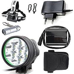 LED LUZ Linterna LáMPARA TORCH frontal Cabeza 7x CREE XM-L T6 /Cree 7X LED de bicicleta /bici lámpara Luz LED frontal para manillar de bicicleta bicicletas (7 focos, 3 modos) con 6x16850 batería y cargador & Llavero Linterna Torch