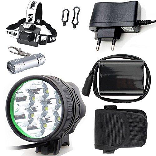 LAMPE TORCHE LED LAMPE TORCHE Cree 7X Lampe LED pour vélo / vélo Lampe frontale LED pour éclairage vélo (modes 7 LED, 3) avec batterie 6x16850 et chargeur et porte-clés torche