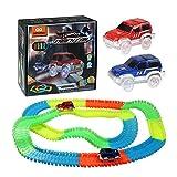 Magic Tracks Circuit de Voiture Flexible | infinitoo Tracks Car Magiques Pièce Modulable | une Piste de Course de 220 Pièces au Néon+2 Voitures Lumineuses+Autocollant | Cool Cadeau pour Enfants à Partir de 3 Ans