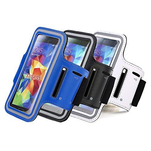 RE:CRON® Sport-Armband Handycover für Apple IPhone 4 4S 5 5S 5C - Neopren - Schwarz mit Schlüsselfach Blau