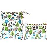 Damero 2 Stück/Set Windeltasche mit wiederverwendbarem Stoff Wetbag Feuchttücher Organiser Beutel, Grüne Wälder