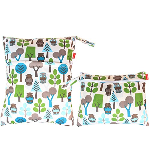Damero 2pcs Sacchetto del pannolino lavabile con zip impermeabile, Green Forest