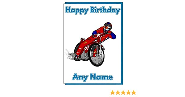 Speedway Motorbike Themed Personalised Birthday Card Add A Name