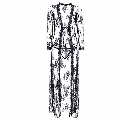 YiZYiF Transparent Kimono Blumen-Spitze Negligee Reizwäsche Nachtwäsche Morgenmantel Babydoll Lingerie Damen Dessous Set mit G-string Schwarz XXL - 5