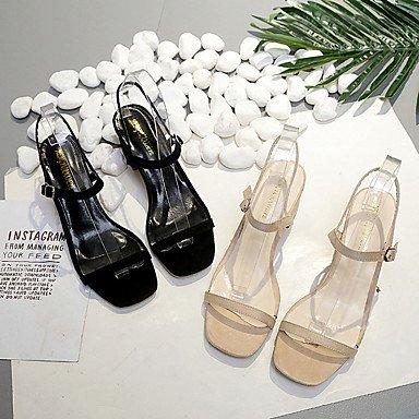 LvYuan Da donna Sandali PU (Poliuretano) Primavera Estate Fibbia Quadrato Nero Tessuto almond 5 - 7 cm Black