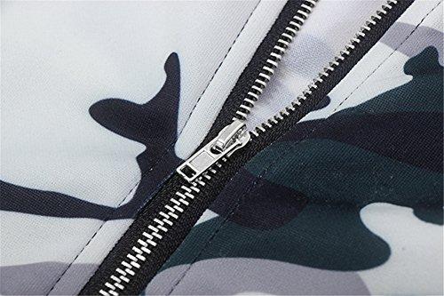 Eudolah Damen Blazer Strickjacke sweatshirt mit Reissverschluss streetwear Fruehling ZKF5335-Weiss