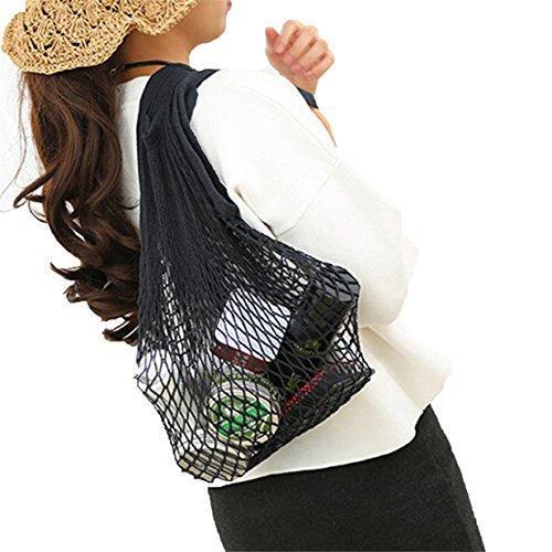 Lalang Netztasche, Mesh Net Bag String Einkaufstasche Wiederverwendbare Obst Lagerung Handtasche Totes Einkaufstasche (Schwarz)