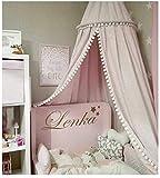 EXQULEG Baby Baumwolle Betthimmel Deko, Baldachin Mückennetz für Schlafzimmer Ankleidezimmer Spiel Lesen,Höhe 2,45m (Rosa (mit Ball Baldachin))