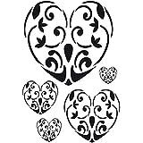 Artemio A3 plantilla para estarcir diseño de corazones