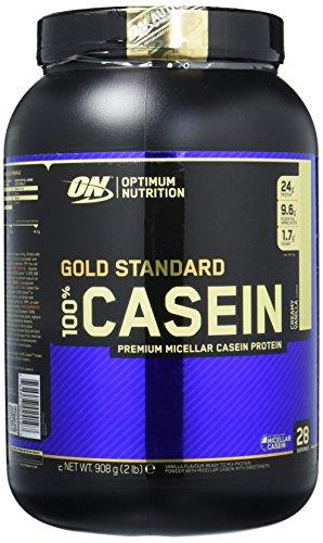 Optimum Nutrition Gold Standard Casein Protein Pulver (mit Glutamin und Aminosäuren. Eiweisspulver von ON) Creamy Vanilla, 27 Portionen, 0,9kg - Gold-standard-protein-shake