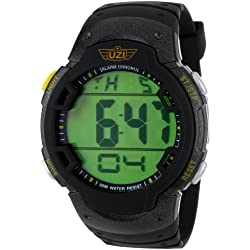 Uzi Men's 47mm Black Rubber Band Steel Case Quartz Digital Watch Uzi-89-R