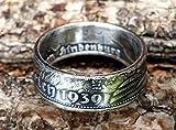 Coinring, Münzring, Ring aus Münze (2 Mark Deutsches Reich 1939), 625er Silber - Double Sided coin ring - Größe 52 (16.6), handgeschmiedetes Unikat