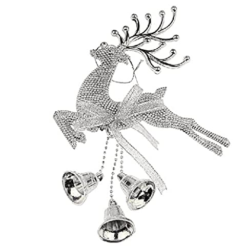Christmas Deer Reindeer Home Xmas Tree Decor Hanging Decoration Ornament with Bells Silver
