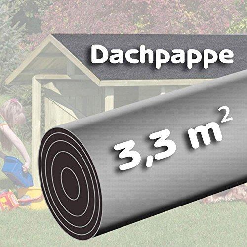 Bitumen - Dachpappe 3,3m² schwarz besandet für Spielhaus von Gartenpirat®