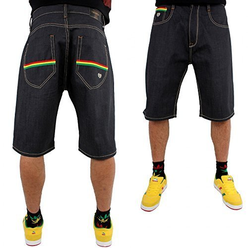 Phat Farm Rasta Streifen baggy Japan roh Denim Jeans Shorts - Raw Jeans, W36 x Regulär - Jeans Phat