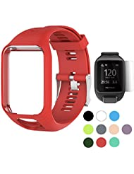 TUSITA WristBand pour TomTom Runner 2 3 / Spark / Spark 3 / Golfer 2 / Adventurer, remplacement en silicone Band Strap Accessoire