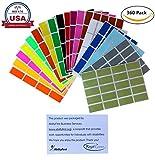 Pegatinas rectangulares de codificación de color de 3,81 cm x 1,75 pulgadas, etiqueta rectangular en 18 etiquetas de colores surtidos para niños (40 mm x 19), paquete de 360 por Royal Green