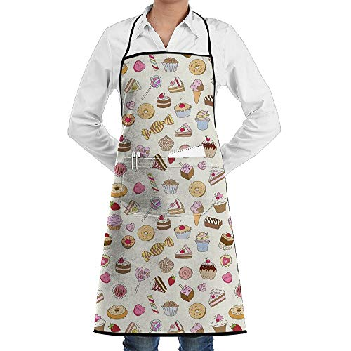 QIAOJIE Bib Apron Pockets Candy Cake Blueberry Muffin Durable Cooking Kitchen Aprons Can Embroidery -