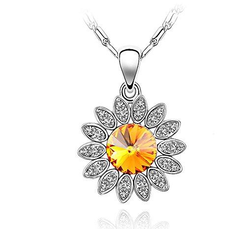 ufengke Damen Feines Sonnenblumen Halskette, Österreich Kristall, Weißes Gold Überzogen, Kettenlänge 40cm + 5cm (Ausgedehnte Kette), Schönes Geschenk für...