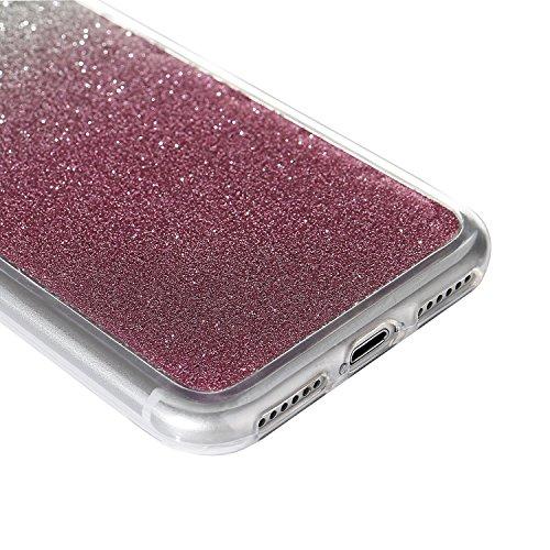 """iPhone 7Plus Handyhülle, Bling Glitzer Funkeln CLTPY iPhone 7Plus Durchsichtig Dünne Matte Gel Cover Schlanke Hybrid Stoßdämpfende & Kratzfeste Gummi Case mit Kippständer für 5.5"""" Apple iPhone 7Plus ( Pink"""