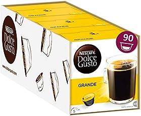 Nescafé Dolce Gusto Caffe Crema Grande, XXL-Vorratsbox, 90 Kaffeekapseln, 100% Arabica Bohnen, feinste Crema und kräftiges Aroma, Blitzschnelle Zubereitung, 3er Pack Großpackung (3 x 30 Kapseln)