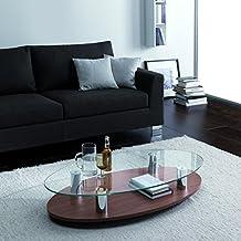 Sun tavolino da salotto in legno e vetro ovale finitura noce canaletto cm. (Noce Ovale Tavolino)