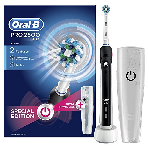 Oral-B Pro 2500 Electric Rechargeable Toothbrush Powered by Braun – Black (Packaging May Vary) – Ships with a UK 2 pin plug