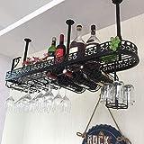 Great St. Eisenkunst-Weinregal, hängender Kelch-Ausstellungsstand-Wohnzimmer-Bar-europäische Verzierungen Multi-funktioneller einfacher Haushalts-Weinregal (Farbe : SCHWARZ, größe : 100x25cm)