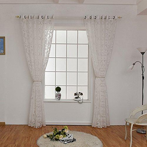 URIJK 100cmx250cm Transparent Gardine Voile Vorhang Blume Muster Dekoschal mit Ösen Fenster Dekoration Schlafenschal für Wohnzimmer Schlafzimmer Studierzimmer (Weiß(2 Stück))