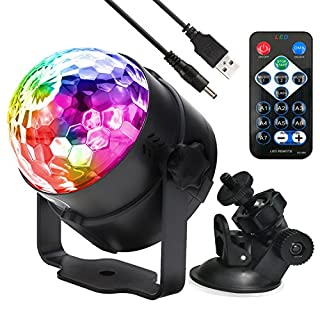 party lights Sound Activated Disco Ball LED Strobe Light, RBG Disco lights,dance lights,Portable 7 Modes for Home Room Birthday DJ Bar Karaoke Xmas Wedding Show Club Pub car party with Remote