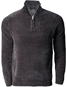 Mens Threadbare Chenille media cremallera jersey de punto suéter Top Jersey LEEMING