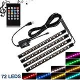Auto Luci Interne, 72 LED 12V LED Strip Lighting Kit RGB Sottocruscotto Vano Piedi Ambient Neon Multi Colore Van Decorazione Universale Umore Luci RF Telecomando