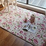 FADFAY Bodenmatte, romantisch, amerikanischer Country Style, folral, rosa, Rosendruck, für Wohnzimmer, dekorativ, Polyester, rose, Size:70*140cm