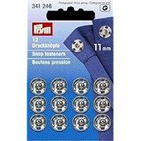 Prym 11 millimetri Sew-On Snap Fasteners, confezione da 12, Ottone Argento