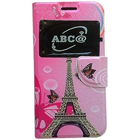 Abdeckung, full, case, cover, funda (gehäuse) mit decke (buch) für BQ Aquaris E 5.0 4G (E5.0 4G) - Eiffel Rosa