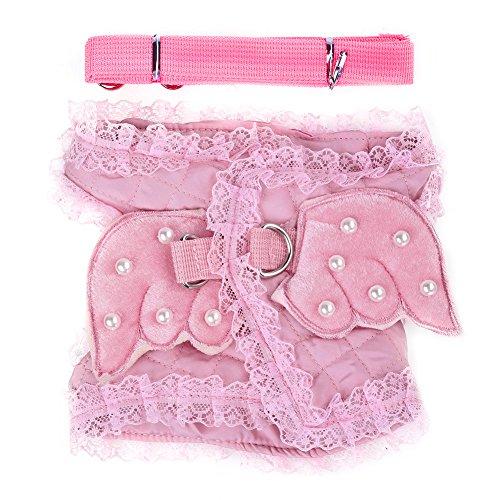 atze Kitty Puppy Sicherheit Gehen Vest Harness Angel Wings Kostüm Spitze Perlen Entwurf (Hund Angel Kostüme)