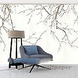 LONGYUCHEN Benutzerdefinierte 3D Poster Fototapete Beige Zurück Hd Plum Blossom Bild Wohnzimmer Hintergrund Fotografie Wandbild Malerei,180Cm(H)×280Cm(W)
