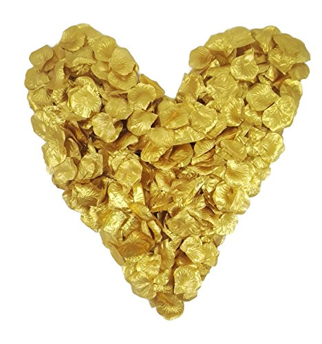 500 goldene Rosenblätter, glänzend, 500 Stück - Jubiläum, Hochzeitsdeko, Kommunion, Konfirmation, Valentinstag Heiratsantrag, Streudeko, Basteln, künstliche Blütenblätter, Goldhochzeit, Hochzeit