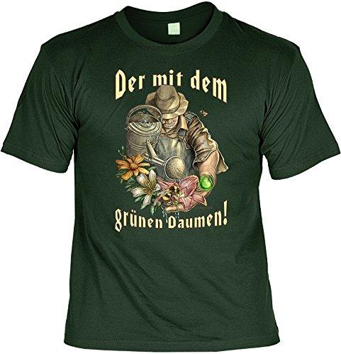 Witziges Gärtner-Spaß-Shirt + gratis Fun-Urkunde: Der mit dem grünen Daumen! Dunkel-Grün