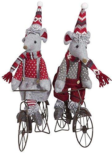 Mäuse Paar auf Fahrrädern, unterschiedlich, rot und grau gekleidet in Latzhosen, Fahrräder sehr aufwendig gestaltet, Bommelmütze und gestreifter Schal, handgefertigt, ca.35cm, Trendyshop365 (Gekleidet Maus)