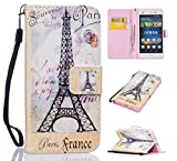 Huawei P8 Lite Wallet Case, Huawei P8 Lite Leather Case, Cozy Hut Premium PU Leather Wallet Embedded Flip Magnetic Detachable Close Lock with [Colorful-Pattern] and [Credit Card Holder Slots] Smart Standing Folio Book Style Type Stylish Ultra Slim Fit Protective Folder Case Cover Skin for Huawei P8 Lite - Paris France