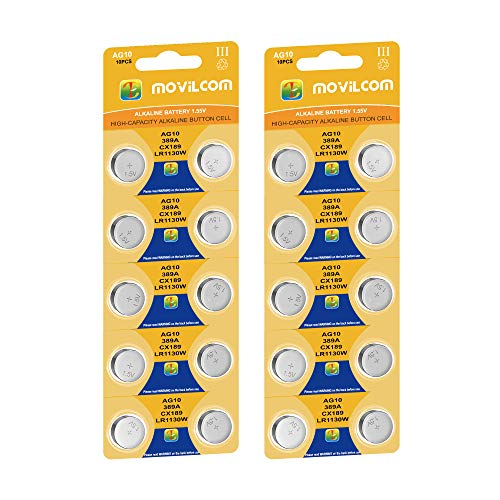 MovilCom® 20 Knopfzellen AG10 Batterien 1,5 V ersetzt L1130, LR1130, L1131, LR1131, LR54, 389, 389, SR1130W, V389, 389, D389, S1131E, 626, M, 280-15, SB-BU, SR54