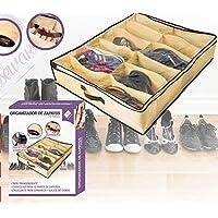 WE HOUSEWARE Organizador de Zapatos Bajo cama 12 Pares de ropa con cremallera y ventana plástica