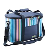 Yodo 25L Insulated Soft Family Cooler Bag Keep Cool/ Warm up to 4 Hours, Summer Blue Stripe