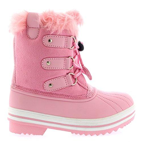 Polar Enfants Unisexes Enfiler Fermeture A Cordon Hiver Neige Pluie Fourrure Doublée Bottes pink