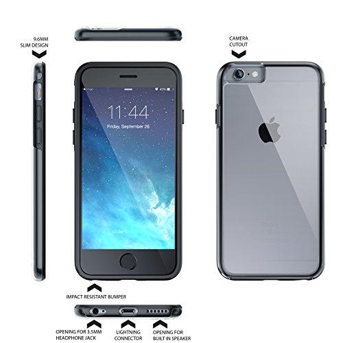 """iPhone 6 6s 4.7"""" Case, Hülle True Color® Kristall Clear Transparent Hybrid Abdeckung unterstützen stark + Soft dünne dauerhaft Schutz Stoß- TPU Stoßabdeckungs [Ultra Clear Sammlung] - Schwartz Schwartz"""