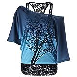 iBaste 2-in-1 T-Shirt Baum Design cold shoulder Bluse Spitze Transluzent Top Schulterfrei Fledermaus Kurzarm Oberteile Cami damen