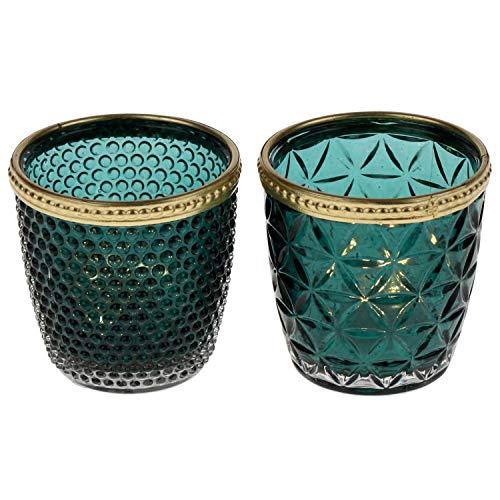 2X Windlicht \'Teal\' Petrol 2fach Sortiert aufwendige Glasstruktur Teelichthalter Kerzenhalter Kerzenglas Glas Weihnachten Tischdeko Home Country Blau